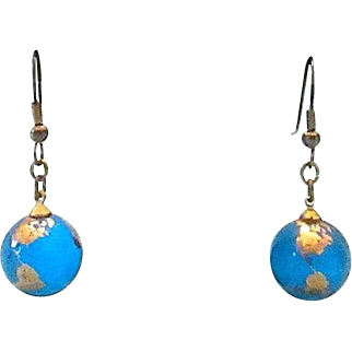 Vintage Blue Globe Glass Marble Hook Earrings with Gilt Covering