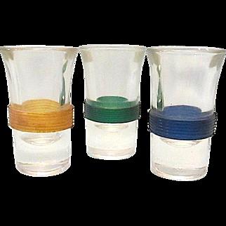 3 Sleek Vase Designed Banded Shot Glasses