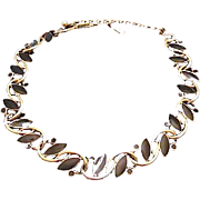 Beautiful TRIFARI Link Necklace Choker with Golden Tone Curves and Black Navette/Round Cabs