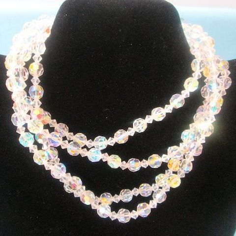 """Vintage Brilliant 54"""" Long Rainbow Faceted Crystal Necklace"""