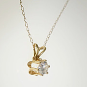 14k Yellow Gold .27ct Solitaire VS Diamond Pendant Necklace 19.5""