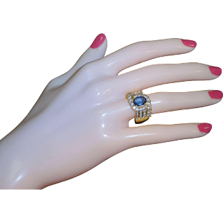 14k Yellow Gold 2.64ct Sapphire & Diamond Cocktail Dinner Ring