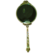 Stylebuilt Accessories 24K Gilt Two Sided Hand Mirror with Basket Decoration