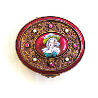 19th Century French Bronze Trinket Box with Portrait and Cabochons