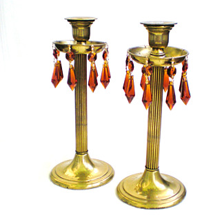 Pair Brass Column Candlesticks with Bobèches and Crystals