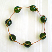 Artisan Green Faceted Bead and Wire Bracelet