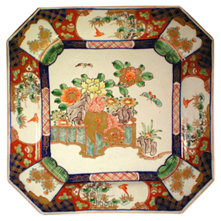 REDUCED 19th Century Square Imari Plate with Dog and Butterfly Decoration