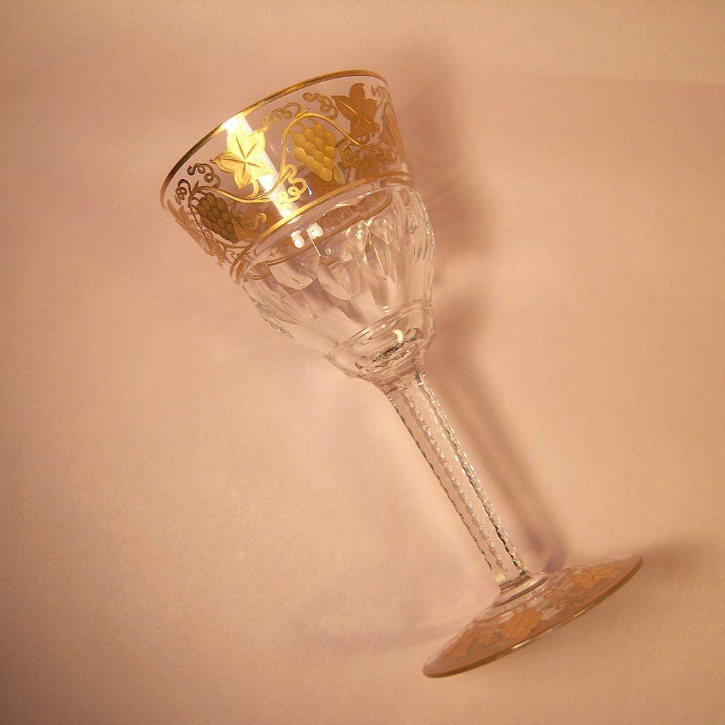 """Val St. Lambert  Pampre D'Or 6 7/8"""" Burgundy Wine Goblet"""