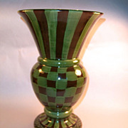 MacKenzie-Childs Heather Huge Brown & Green Check Vase