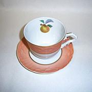 Mottahedeh Summer Fruit Cup & Saucer, Apple
