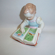 """Charming Herend Girl with Book """"Difficult Task"""" Figurine"""