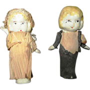 """Bride and Groom bisque miniature dolls in tissue paper outfits adorable 2-1/2"""" tall"""