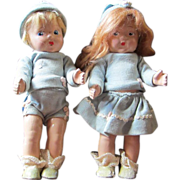 Toddles VOGUE 1940's boy girl twin dolls Ginny family composition original outfits