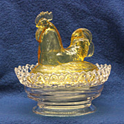 Imperial Glass Rooster in Sunshine Yellow and Clear Glass on Lacy Base