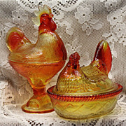 Kanawha Amberina Glass Hen on a Nest and Standing Rooster Pair