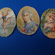 Three Hand Painted Pictures on Parchment