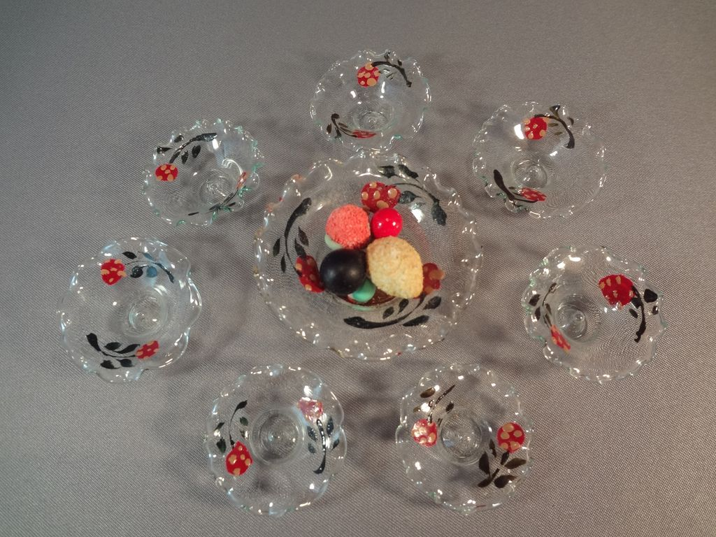 German Doll House Glass Berry Set Paint Decorated