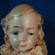"""5"""" All Bisque German Jointed Doll with Blue Bows"""