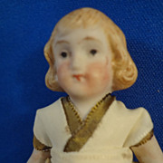 """3 1/2"""" All Bisque Doll  with Blonde Molded Hair"""