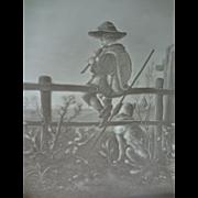 German Lithophane of Boy on Fence