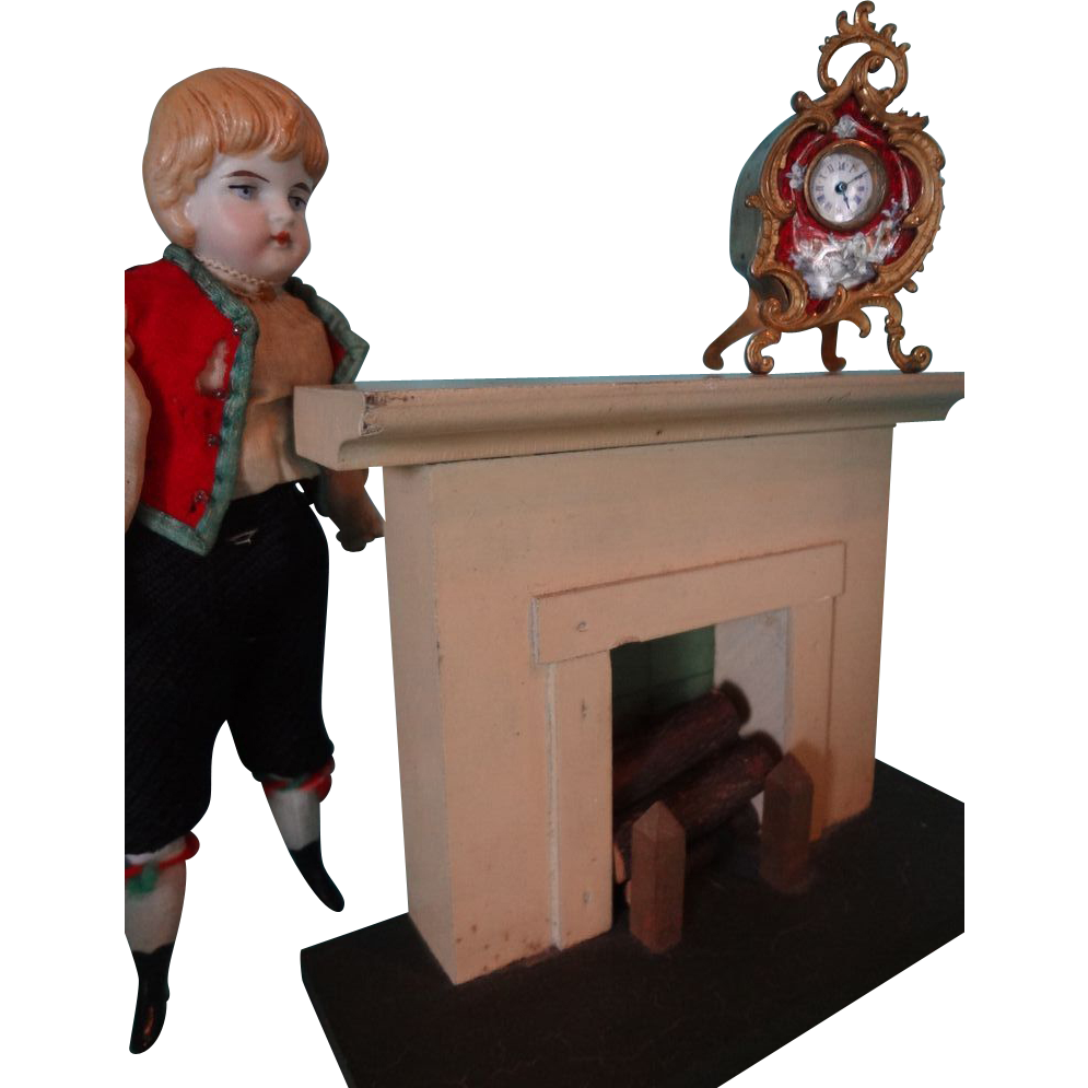 Doll House Vintage Wood Fireplace with Logs