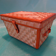 Miniature Woven Straw Trunk Candy Container