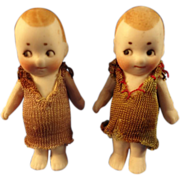 """Pair of 2"""" German All Bisque with Googly Eyes"""