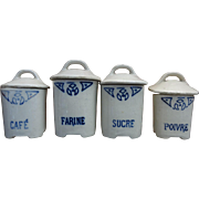 Set of Four Porcelain Canisters for Early Kitchen