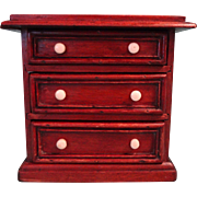 Early Walnut Three Drawer Miniature Chest with Bone Knobs
