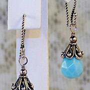 Bali Sterling Silver Opal Quartz Dangle Earrings- Artisan Handmade Gift for Her/ Woman