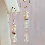 Bali Sterling Silver Stacked Cultured Keshi Pearl- Moonstone- Rock Crystal drop Earrings- Jewelry Gift
