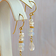24K Bali Gold Vermeil Stacked Cultured Keshi Pearl, Moonstone and Faceted Rock Crystal Teardrop Dangle Earrings- Easter/ Mother's Day Jewelry Gift Idea for Her