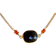 Iolite Carnelian Gemstone Handmade Vermeil Wrapped Gold Filled Necklace- Layering Necklace-Jewelry Gift for Her