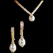 SET- South Sea Shell Drop Pearl Earrings & Necklace Set- (16mmx 12mm)- Artisan Handmade Bali 24K GV Jewelry- Wedding- Gift