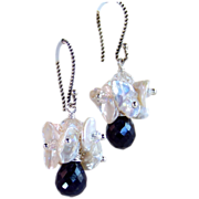 Sapphire & Keshi Pearl Cluster Drop Earrings- Sterling Wire Wrapped- Wedding- Artisan Handmade Jewelry- September Birthstone