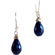 Natural Sapphire Briolette Drop Earrings- 14K Gold Filled- Handmade Jewelry Gift for Her- September's Birthstone