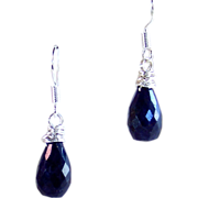 Sapphire Gemstone Briolette Drop Earrings- Sterling Silver- Handmade Jewelry Gift for Her- September's Birthstone