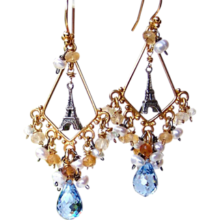 SALE French Country-Paris Chic! London Blue Topaz- Citrine Gemstone Eiffel Tower Chandelier Earrings- Artisan Handmade Jewelry