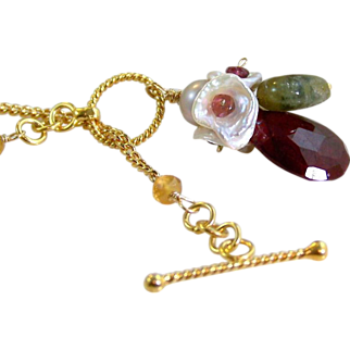 REDUCED 50% OFF Valentine's Day Sale! Natural Red Ruby- Tourmaline- Citrine- Keshi Pearl Floral Gemstone Cluster Pendant Necklace- Wire Wrapped- Handmade Jewelry- Mother's Day Gift/ For Her