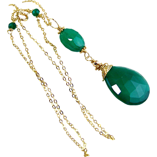 SALE Emerald Green Onyx Pendant Necklace, Green Gemstone Chalcedony Pendant Necklace, 24k Gold Vermeil Wire Wrapped- Artisan Handmade Holiday Jewelry Gift