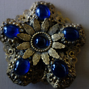 Gilded Filigree Cobalt Glass Cabochons Brooch