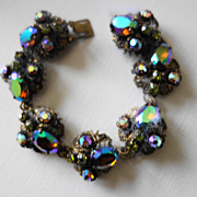 Czech Bracelet With Rhinestones & Gilt Filigree