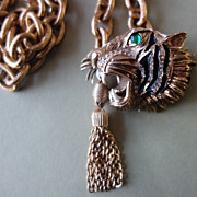 HATTIE CARNEGIE Tiger with Green Glass Eye  Necklace/Belt/Pendant (Book Piece)