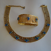 HATTIE CARNEGIE Rare Mesh Blue Crystal Rhinestone Necklace & Bracelet