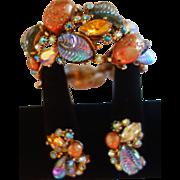 """HAR """"Fantasy Collection"""" Bracelet/Earrings Set Iridescent Art Glass Stones"""