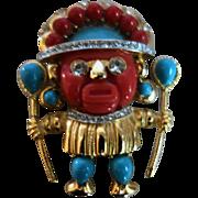 HATTIE CARNEGIE (Signed)Jeweled Aztec Warrior Figural Brooch