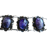 MEXICAN Sterling Silver & Amethyst Cabochon Bracelet