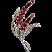 "MARCEL BOUCHER Phrygian Cap 3.75"" Ruby Red & Clear Rhinestone Floral Brooch"