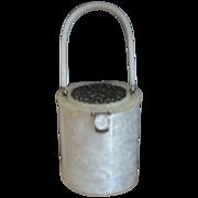 RIALTO Silver-Colored Filigree Carved Top Pearl White Lucite Handbag