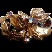 HAR Clamper Bracelet (Striking Golds, Browns, Aurora Borealis & Faux Pearl Stones)